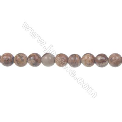 Picture jasper round strand beads, Diameter 6 mm, Hole 1 mm, 69 beads/strand 15 ~ 16''