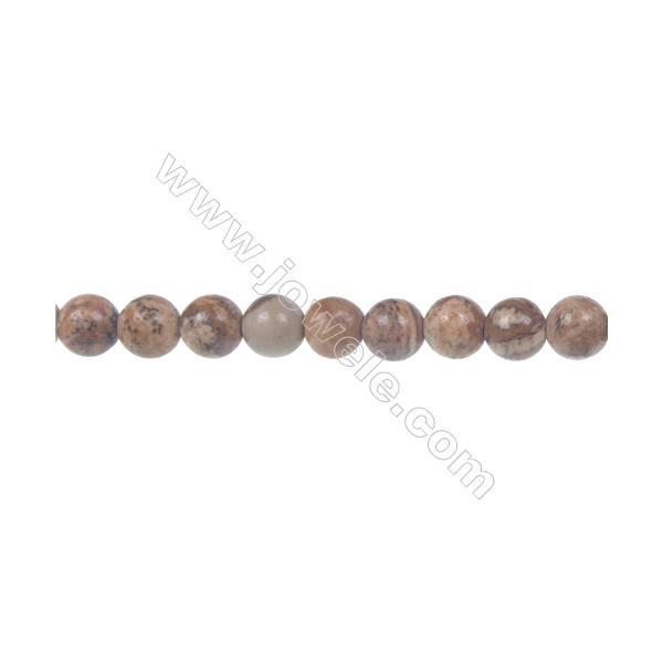 Picture jasper round strand beads, Diameter 6 mm, Hole 1 mm, 69 beads/strand 15 ~ 16''