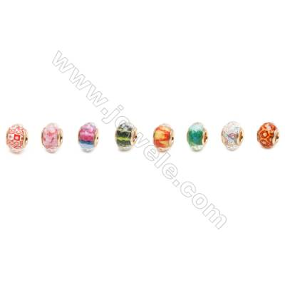 Handmade Lampwork Europeans Style Beads  Silver Color Brass Core  Faceted  10x14mm  Hole: 4mm  200pcs/pack