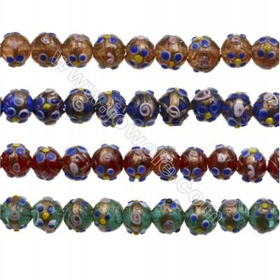 "12mm Handmade Lampwork Strand Beads  Round  Hole: 1.5mm  35 beads/strand  15~16"""