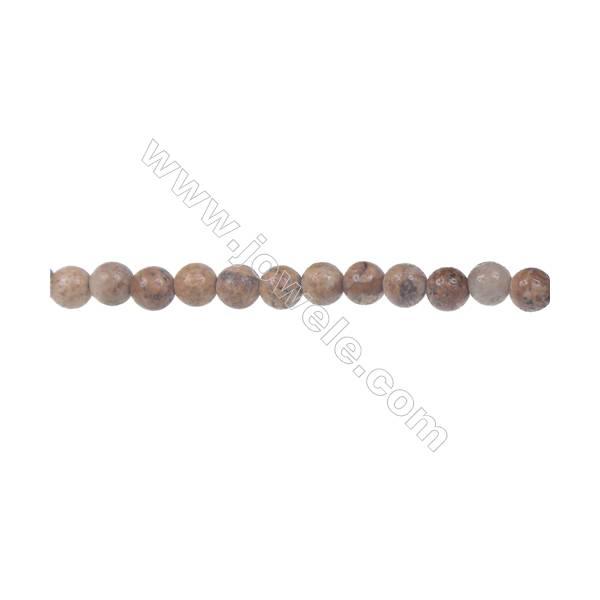 Picture jasper round strand beads, Diameter 4 mm, Hole  0.8 mm, 93 beads/strand 15 ~ 16''