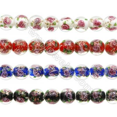 "12mm Handmade Lampwork Strand Beads  Round  Hole: 1.5mm  33 beads/strand  15~16"""