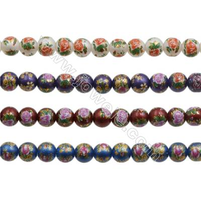 10mm Handmade Lampwork Strand Beads  Round  Hole: 1mm  42 beads/strand  15~16""