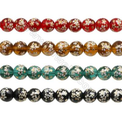 "12mm Handmade Lampwork Strand Beads  Round  Hole: 1.5mm  36 beads/strand  15~16"""