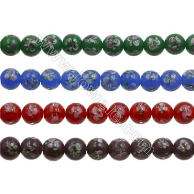 12mm Handmade Lampwork Strand Beads  Round  Hole: 1.5mm  36 beads/strand  15~16""