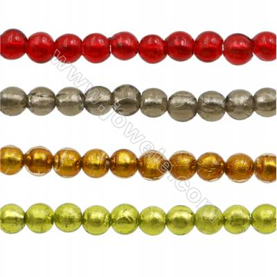 8mm Handmade Lampwork Strand Beads  Round  Hole: 1.5mm  40 beads/strand  15~16""