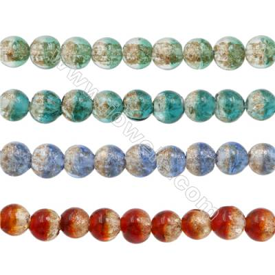 12mm Handmade Lampwork Strand Beads  Round  Hole: 2mm  33 beads/strand  15~16""