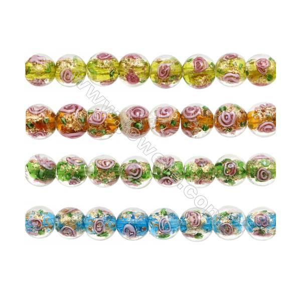 "12mm Handmade Lampwork Strand Beads  Round  Hole: 1.5-2mm  33 beads/strand  15~16"""