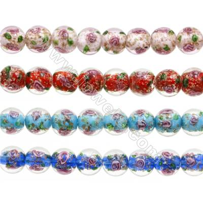 14mm Handmade Lampwork Strand Beads  Round  Hole: 1.5-2mm  28 beads/strand  15~16""