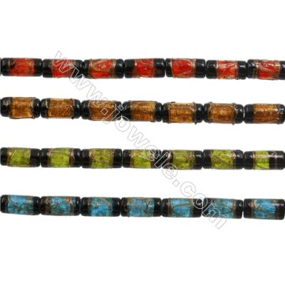 8x16mm Handmade Lampwork Strand Beads  Column  Hole: 1.5-2mm  25 beads/strand  15~16""