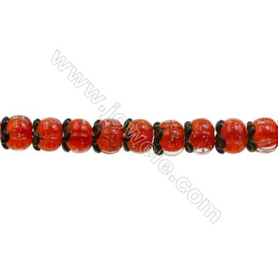 16x20mm Handmade Lampwork Strand Beads  Pumpkin  Hole: 1.5mm  20 beads/strand  15~16""