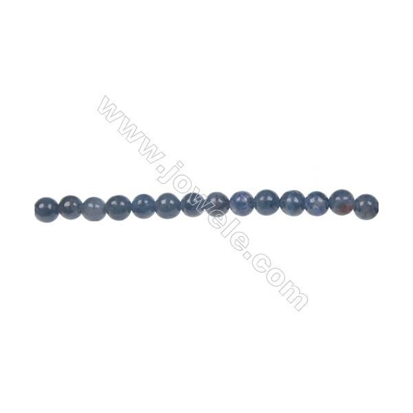 Natural stone dumortierite  4mm round strand beads  hole diameter 0.8mm  103 beads/ strand  15~16''