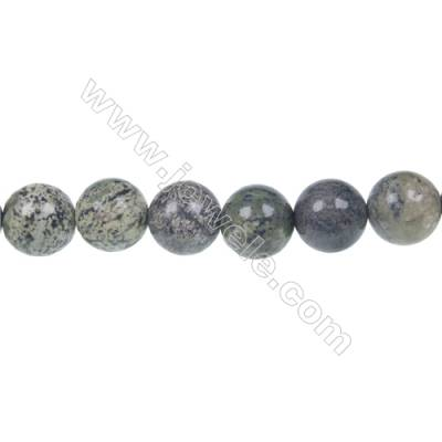 Hot sale green zebra jasper round beads strand, Diameter 10mm, Hole 1.2 mm, 39 beads/strand 15~16""