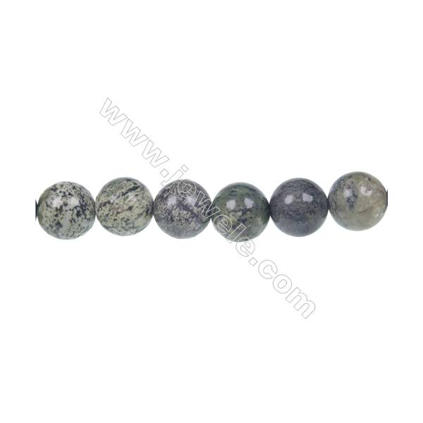 "Hot sale green zebra jasper round beads strand, Diameter 10mm, Hole 1.2 mm, 39 beads/strand 15~16"""
