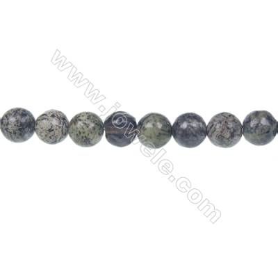 Fashion green zebra jasper round strand beads, Diameter 8mm, Hole 1mm, 51 beads/strand 15~16""