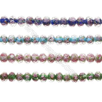 9x12mm Handmade Lampwork Strand Beads   Faceted Abacus  Hole: 1.5mm  42 beads/strand  15~16""