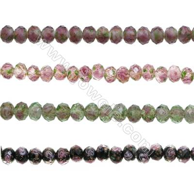 6x8mm Handmade Lampwork Strand Beads  Faceted Abacus  Hole: 1.5mm  66 beads/strand  15~16""