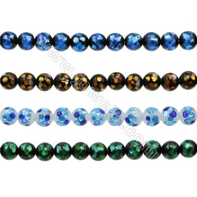 8mm Handmade Lampwork Strand Beads  Round  Hole: 1.5mm  50 beads/strand  15~16""