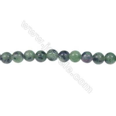 Popular DIY jewelry making Ruby-Zoisite 6mm strand round beads, Hole 1 mm, 66 beads/strand, 15~16""