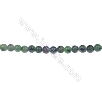 Round ruby zoisite strand beads, Diameter 4 mm, Hole 0.8mm, 98 beads/strand, 15~16""