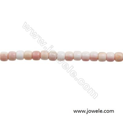Natural Pink Mother Of Pearl Beads Strand, Barrel, Size 7x8mm, Hole 1.5mm, about 108 beads/strand, 31~32""