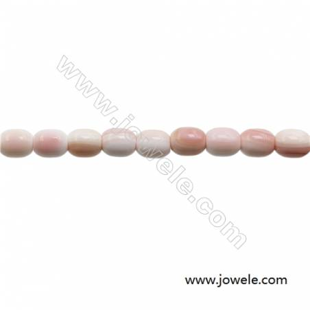 """Natural Pink Mother Of Pearl Beads Strand, Barrel, Size 10x12mm, Hole 1.5mm, about 33 beads/strand, 15~16"""""""