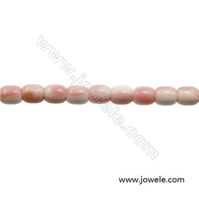 Natural Pink Mother Of Pearl Beads Strand, Barrel, Size 12x14mm, Hole 1.5mm, about 28 beads/strand, 15~16""