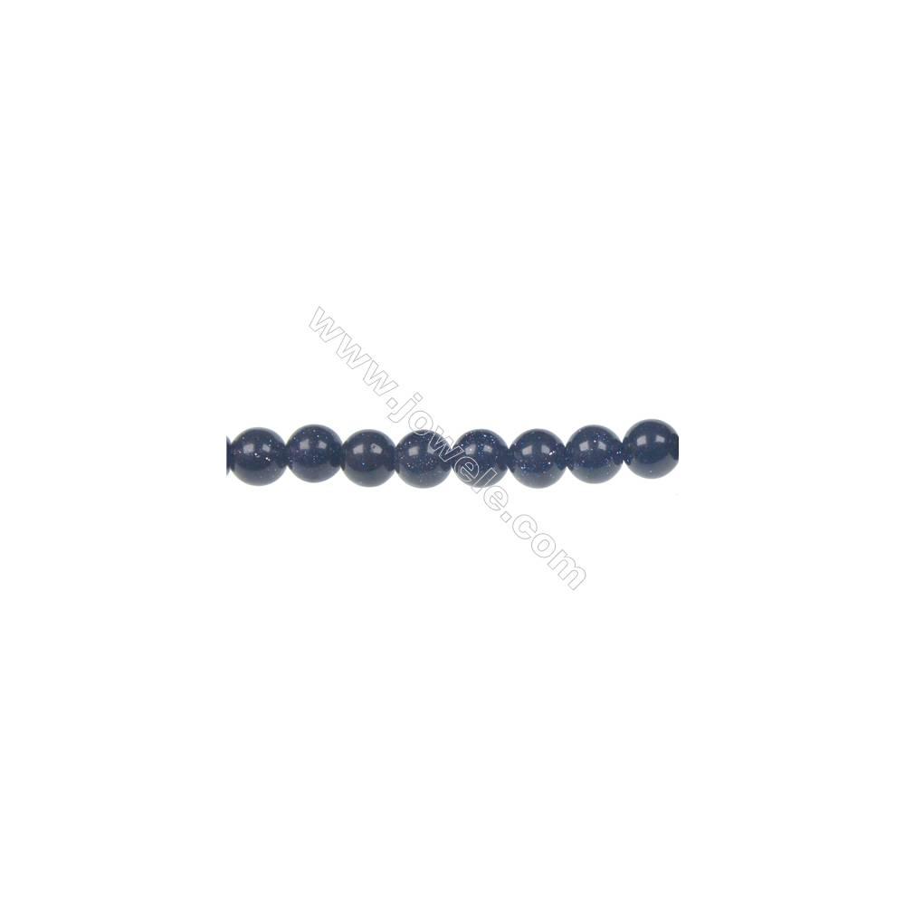 "8mm Blue Sandstone strand beads, semi precious stone for jewelry making, Hole 1mm, 48 beads/strand, 15~16"""