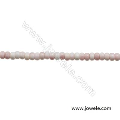 Natural Pink Mother Of Pearl Beads Strand, Abacus, Size 4x6mm, Hole 1mm, about 100 beads/strand, 15~16""