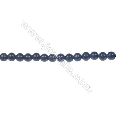 Natural Blue Sand Stone Beads Strand, Round, Diameter 4mm, Hole 0.8mm, about 92 beads/strand, 15~16""