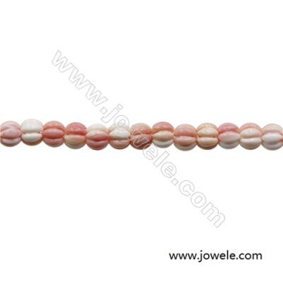 Natural Pink Mother Of Pearl Beads Strand, Pumpkin, Size 9X10mm, Hole 1.5mm, 20 beads/strand