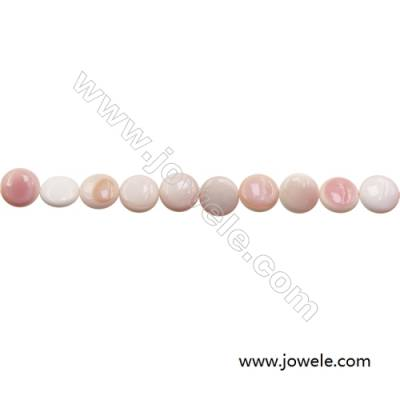 Natural Pink Mother Of Pearl Beads Strand, Flat round, Diameter 15mm, Hole 1mm, about 27 beads/strand, 15~16""