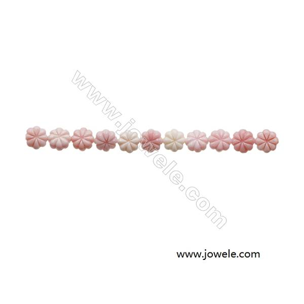 Natural Pink Mother Of Pearl Beads Strand, Flower, Size 8mm, Hole 0.8mm, 20 beads/strand