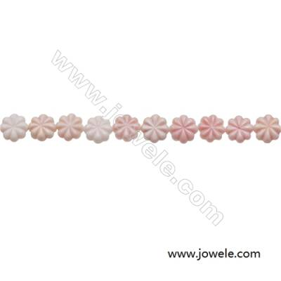 Natural Pink Mother Of Pearl Beads Strand, Flower, Size 10mm, Hole 0.8mm, 20 beads/strand