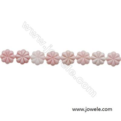 Natural Pink Mother Of Pearl Beads Strand, Flower, Size 12mm, Hole 0.8mm, 20 beads/strand