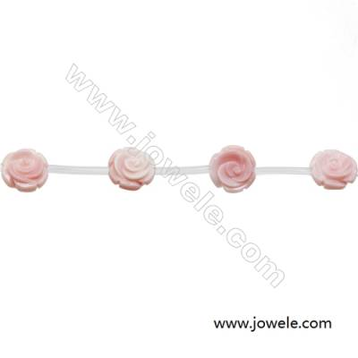Natural Pink Mother Of Pearl Beads Strand, Rose, Size 12mm, Hole 1mm, 20 beads/strand