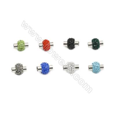 Rhinestone Clasp  magnetic  304 stainless steel  13x17mm barrel with glue-in ends  5mm inside diameter. 20pcs/pack