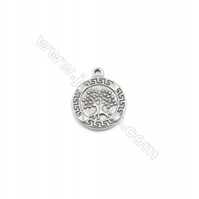 304 Stainless Steel Pendant  Round  Diameter 16mm  100pcs/pack
