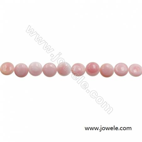 Natural Pink Mother Of Pearl Beads Strand, Rondelle, Diameter 12mm, Hole 0.8mm, about 33 beads/strand, 15~16""