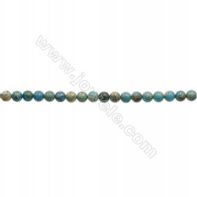 Serpentine Round Beads Strand  Blue (dyed)  Diameter 6mm  Hole 0.8mm  about 66 beads/strand 15~16""