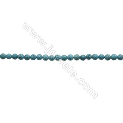 Faceted Round Howlite Beads Strand  Dyed Blue  Diameter 4mm  Hole 0.6mm  about 96 beads/strand 15~16""
