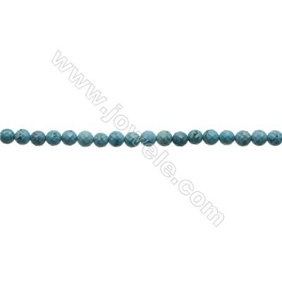 Faceted Round Howlite Beads Strand  Dyed Blue  Diameter 6mm  Hole 0.8mm  about 66 beads/strand 15~16""