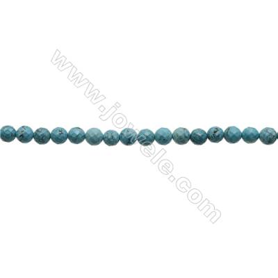 Faceted Round Howlite Beads Strand  Dyed Blue  Diameter 8mm  Hole 1mm  about 50 beads/strand 15~16""