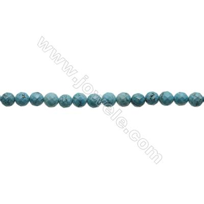 Faceted Round Howlite Beads Strand  Dyed Blue  Diameter 10mm  Hole 1mm  about 40 beads/strand 15~16""