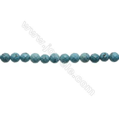 Faceted Round Howlite Beads Strand  Dyed Blue  Diameter 12mm  Hole 1.2mm  about 33 beads/strand 15~16""