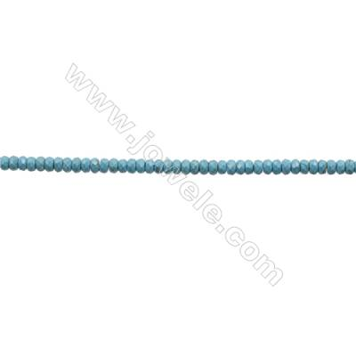 Faceted Abacus Howlite Beads Strand  Dyed Blue  Size 3x4mm  Hole 0.6mm  about 133 beads/strand 15~16""