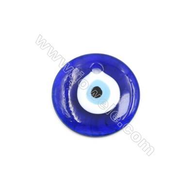 Handmade Evil Eye Lampwork Pendants, Dark Blue, Rondelle Single-side, Diameter 60mm, Thickness 8mm, Hole: 6..5mm, 20pcs/pack