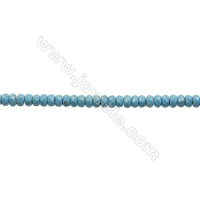Howlite Abacus Beads Strand  Dyed Blue  Faceted  Size 6x10mm  Hole 0.8mm  about 66 beads/strand 15~16""