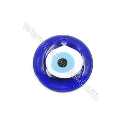 Handmade Evil Eye Lampwork Pendants, Dark Blue, Single-side, Diameter 55mm, Thickness 10mm, Hole: 4.5mm, 30pcs/pack