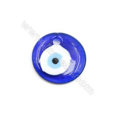 Handmade Evil Eye Lampwork Pendants, Dark Blue, Rondelle Single-side, Diameter 40mm, Thickness 7mm, Hole: 5.5mm, 30pcs/pack